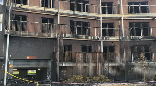 a six-storey block that made headlines back in 2019 when a structural fire destroyed 20 flats and damaged a further 10.